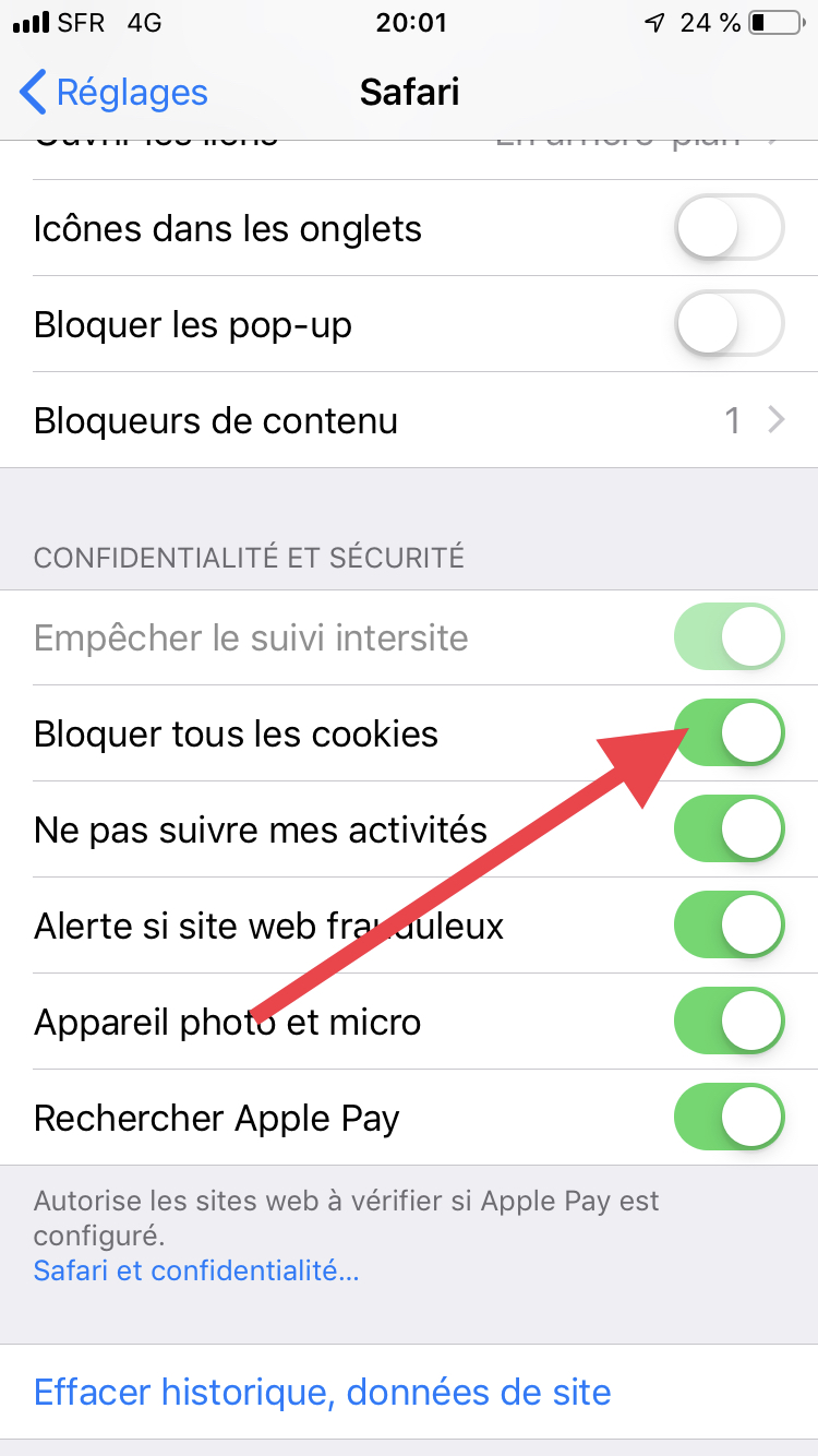 how to turn cookies on iphone safari