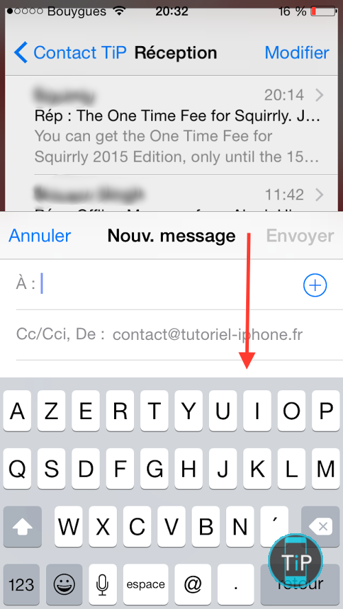 minimiser fenetre mail iphone